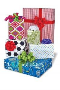 here are some beautifully wrapped gift boxes. Check out our fundraisers selling gift wrap.
