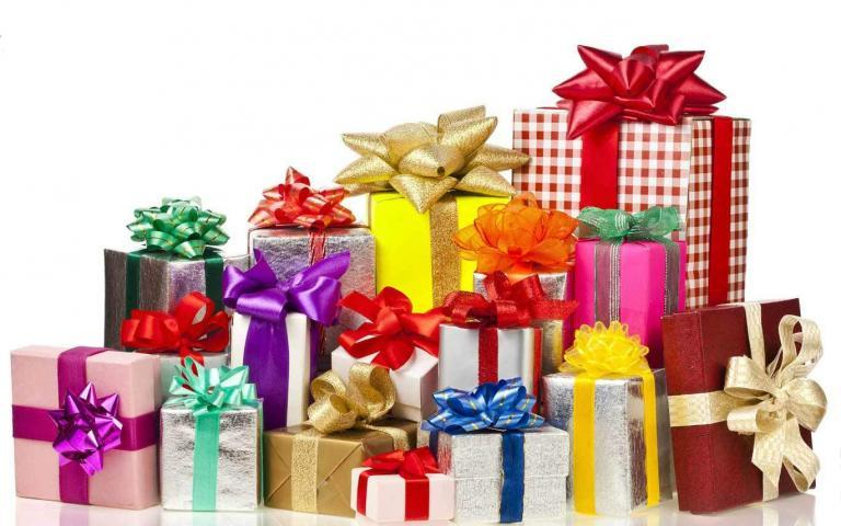 wrapping paper fundraisers - Big stack of colorful gifts with beautiful gift wrap!